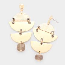 Geometric Textured Metal Earrings - Grey