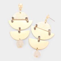 Geometric Textured Metal Earrings - Ivory