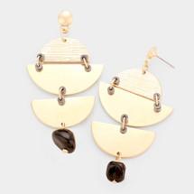 Geometric Textured Metal Earrings - Black