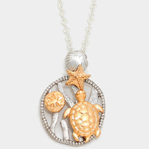 Metal Two Tone Starfich Turtle Necklace