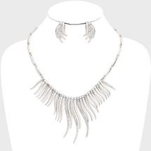 Wavy Bar Drop Necklace: Gold Or Silver