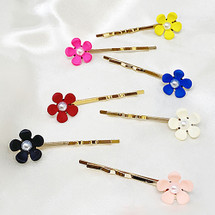 Pearl Center Colorful Flower Hairpin Set