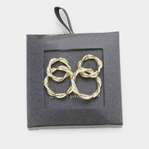 Gold Dipped Twisted Double Hoop Earrings: Gold Or Silver