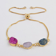 Colorful Druzy Stone Adjustable Bracelet