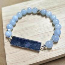 Rectangle Kyanite & Agate Beaded Bracelet