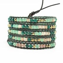 Hand Made Gypspy Bohemian Leather Gemstone Beaded Wrap Bracelet