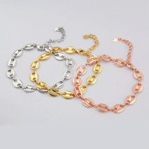 Oval Links Chain Bracelet: Gold, Silver Or Rose