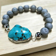 Silver Plated Blue Howlite Turquoise Druzy Bead Bracelet
