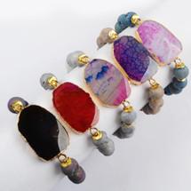 Gold Plated Rainbow Fire Onyx Agate Bracelet Titanium Druzy Stone Beads