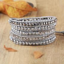 Silver Tones Semi Precious Leather Beaded Wrap Bracelet