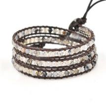 Aviva Semi Precious Leather Beaded Wrap Bracelet