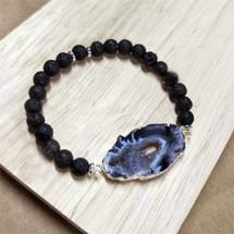 Silver Plated Onyx Druzy Agate Lava Bead Bracelet