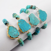 18K Natural Turquoise Slice With 8mm Beads Adjustable Bracelet: Gold Or Silver