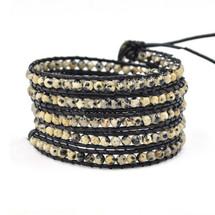 Leather & Jasper Beaded Semi Precious Wrap Bracelet