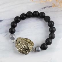 Pyrite Pelelith Beads Bracelet Fashion Bracelet Silver Plated