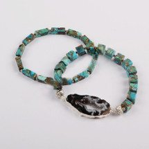 Turquoise Druzy Slice Bracelet Set