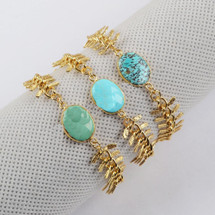 Oval Gold Plated Natural Turquoise Bracelet