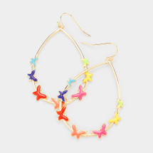 Multi-Color Teardrop Butterfly Earrings