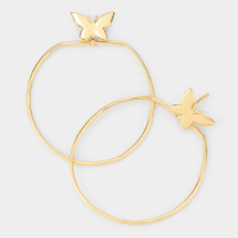 Butterfly Accented Wire Hoops: Gold Or Silver