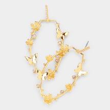 Butterfly Flower Crystal Hoop Earrings: Gold Or Silver