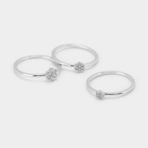 Little Pave Flower Ring Set: Gold Or Silver