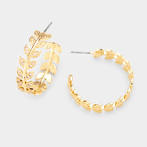 Crystal Leaf Hoops: Gold Or Silver