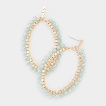 Hammered Beaded Oval Hoops - Mint