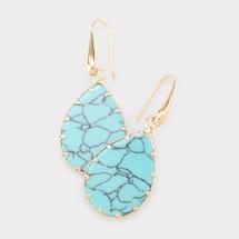 Semi Precious Teardrop Earrings - Turquoise