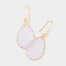 Semi Precious Teardrop Earrings - Opal