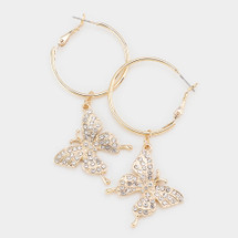 Butterfly Pave Drop Hoop Earrings