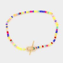 Multi Colored Beaded Toggle Bracelet