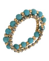 Turquoise Stones Adjustable Stretchy Wrap Bracelet