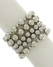 Layered Bead Silver Stretch Bracelet