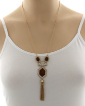 Cleo Deco Inspired Necklace: Gold Or Silver