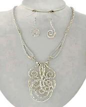 Hammered Silver Swirls Necklace Set