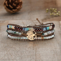 Tree Of Life Semi Precious Leather Wrap Bracelet