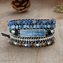 Kyanite Blues Semi Precious Leather Wrap Bracelet: Gold Or Silver
