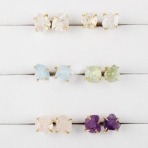 Tiny Golden Claw Semi Precious Earrings: More Colors/Stones