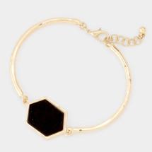 Semi Precious Hexagon Jet Bracelet