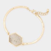 Semi Precious Hexagon Labradorite Bracelet