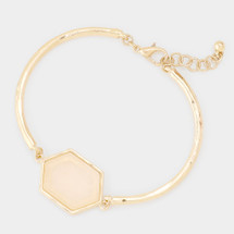 Semi Precious Hexagon Ivory Bracelet
