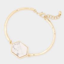 Semi Precious Hexagon White Howlite Bracelet