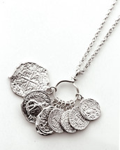 Long Coins Necklace: Gold Or Silver