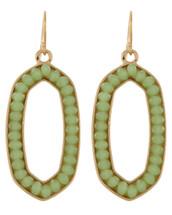 Mint/Gold Oval Earrings