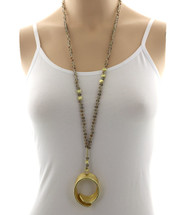 Long Gold Swirl Necklace