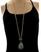 Amazonite Toggle Teardrop Pendnat Long Necklace