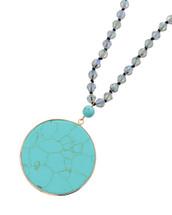 Turquoise Demi Precious Pendant Beaded Necklace