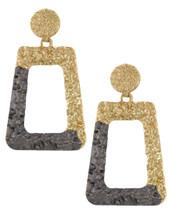 Textured Doorknocker Earrings: Grey