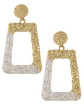 Textured Doorknocker Earrings: White