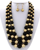 Gold + Black Spheres Necklace